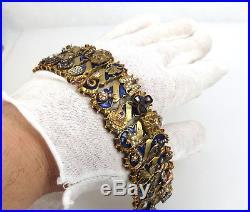 Antique 0.3ct Diamond 1.5ct Gemstone & Enamel Multi Charm 18K Gold Wide Bracelet