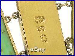 Antique 14k Solid Gold Chinese Large Hand Carved Jade WIDE Link Bracelet
