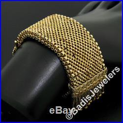 Antique 14k Yellow Gold Wide Chain Engraved Buckle & Tassel Heavy Bracelet 62.9g