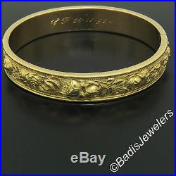 Antique 18K Yellow Gold Wide Rose Floral Relief Repousse Hinged Bangle Bracelet