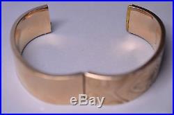 Antique 1914 Victorian Gold Filled 7/8 Inch Wide Engraved Bangle Bracelet