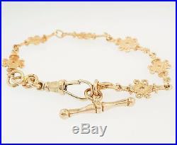 Antique 9ct Rose Gold 7 Fancy Celtic Link(8mm Wide) Bracelet with T-bar (26mm)