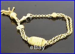 Antique 9ct Yellow Gold 7 Oval Curb Albertina Bracelet 5-10mm Wide