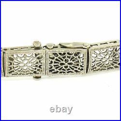 Antique Art Deco 10k White Gold 7 Wide Marquise Filigree & Sapphire Bracelet