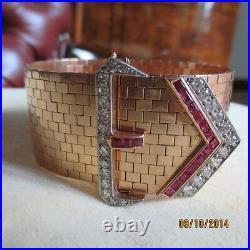 Antique Art Deco Wide 4.75 Ct Diamond & 3.75 Ruby 14kt Gold Belt Bracelet/ring