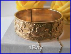 Antique Art Nouveau C 1910 Gold Gf Wide Dragon Phoenix Lion Bangle Bracelet