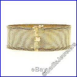 Antique Edwardian 18k Gold OLD Mine Cut Diamond & Sapphire Wide 7 Mesh Bracelet