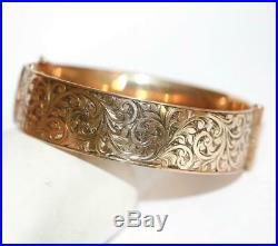 Antique Fancy Scroll Wide Bangle Bracelet 9k Rose Gold Overlay, Signed MHM