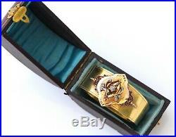 Antique French Victorian Diamond 18K Bi-Color Gold Wide Bangle Bracelet in Box