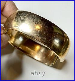 Antique Gold Clamper Bracelet, Victorian Gold Fill Jewelry, Engraved wide Bangle
