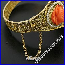 Antique Handmade 14K Yellow Gold Fine Carved Coral Wide Filigree Bangle Bracelet