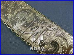 Antique Long & Wide 18kt Yellow Gold Handcrafted & Hand Etched Bracelet #2992