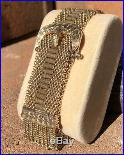 Antique Victorian 10k Yellow Gold Wide Belt & Buckle Mesh Tassel Etched Bracelet
