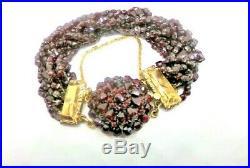 Antique Victorian Bohemian Garnet Bracelet 14k Yellow Gold Heavy Wide 41.7g
