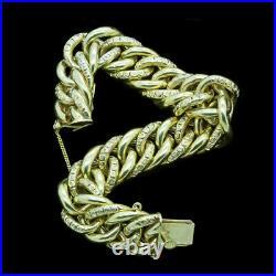 Antique Victorian Bracelet 18k Gold Chain Wide Link Chain Bangle Luxurious(6640)