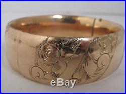 Antique Victorian Etched Gold Filled Hinged Bangle Bracelet 7/8 wide
