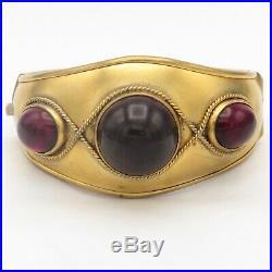 Antique Victorian Etruscan Revival Garnet Paste 1.25 Wide Gold Gilt Bracelet