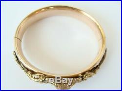 Antique Victorian Lion's Head Paste Rolled Gold Wide Hinged Bangle Bracelet 45gr