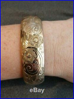 Antique Victorian Repousse Gold Filled GF Wide Bangle Bracelet