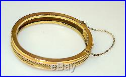 Antique Victorian Small Oval Gold Filled Fancy 3/8 Wide Hinged Bangle Bracelet