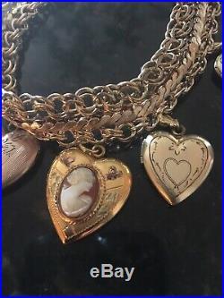 Antique Vintage 12K 14K Gold Filled Wide Charm Bracelet Lockets 46.4 Grams