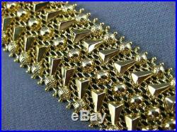 Antique Wide 18kt Yellow Gold 3d Classic Weave Filigree Italian Bracelet #20955