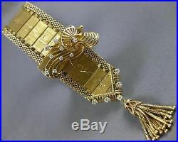Antique Wide Baume & Mercier Diamond 14kt Yellow Gold Tassel Watch Bracelet 1655