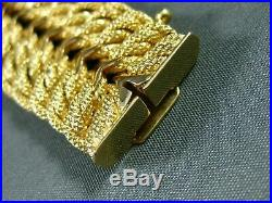Antique Wide & Long 18k Yellow Gold Graduating Handcrafted Woven Bracelet #22216