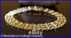 Arafin 14k Solid Yellow Gold Bead Flat Bar Bracelet 9mm wide 8.5 grams Italy