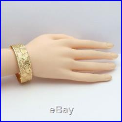 Art Deco 18k 750 Gold Hand Etched Wide Slip On Bangle Bracelet 24gr MINT