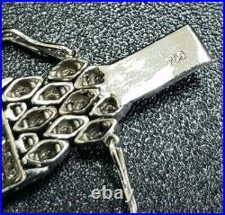 Art Deco Style Wide Diamond Bracelet 18K White Gold 6 Cts Total