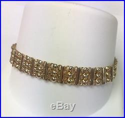 Aurafin 14K Yellow Gold Beaded Chain Bracelet 7 Long 9mm Wide