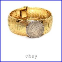 Aurafin Italy 14K Yellow Gold Wide Omega Bracelet