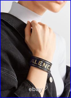Auth. Balenciaga Golden Logo Leather Wide Bracelet w Box Mint Condition Size 16
