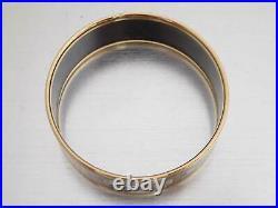 Auth HERMES Wide Cloisonne Bangle Bracelet Navy Blue Goldtone/Enamel e45525d