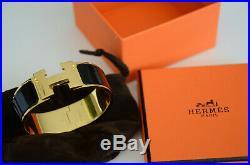 Auth Hermès PM H WIDE Clic Clac BLACK GOLD Bangle Herme Bracelet Narrow