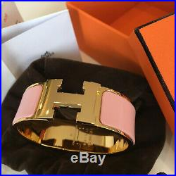 Auth Hermès PM H WIDE Clic Clac PINK Enamel GOLD GHW Bangle Herme Bracelet
