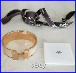 Auth Nib Hermes Marron Glace Rose Gold CLIC Clac H Wide Bracelet Pm