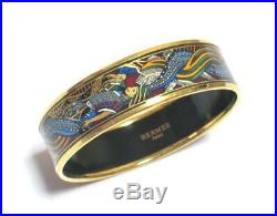 Authentic HERMES Enamel Gold Wide Bangle Bracelet GM #F074