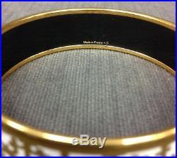 Authentic HERMES Gold White Balcons du Guadalquivir Wide Enamel Bangle Bracelet