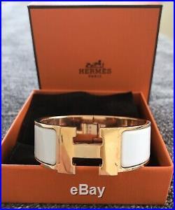 Authentic Hermes Clic Clac H Bracelet White Wide Size PM Rose Gold