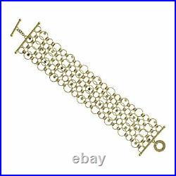 Authentic Roberto Coin 18K Yellow Gold Diamond Wide Link Bracelet Size 7
