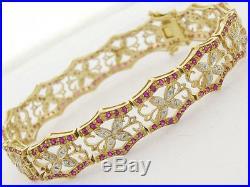B047 Genuine Solid 9K Gold NATURAL Diamond Ruby Filigree Wide Bracelet 19cm