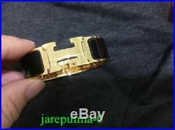BRAND NEW Authentic Hermes Clic Clac H PM Gold Bracelet Wide Black Enamel Bangle