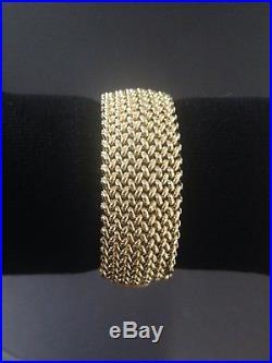 BREV Italy Wide Woven Mesh 14K Yellow Gold Heavy Estate Bracelet 37 Grams