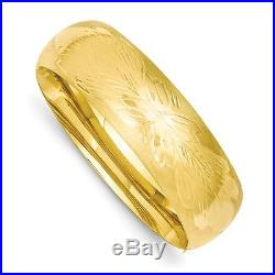 Bangle Bracelet Wide 13/16 14K Yellow Gold Florentine Engraved Hinged Bangle