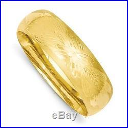 Bangle Bracelet Wide 13/16 14K Yellow Gold Smooth Polished Hinged Bangle