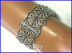 Bankruptcy 72% Off 600 Diamond 14 K White Gold Wide Mesh Flower Lace Bracelet