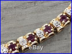 Beautiful 10K Yellow Gold Red Ruby & Diamond 5MM Wide Tennis Bracelet 7.25