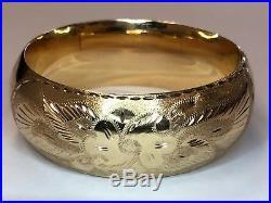Beautiful Vintage 14k Yellow Gold Wide Floral Hinged Bangle Bracelet 32.7 Grams